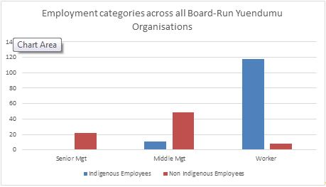 Graph 1: Employment categories across all local organisations in Yuendumu managed by a Board of Directors