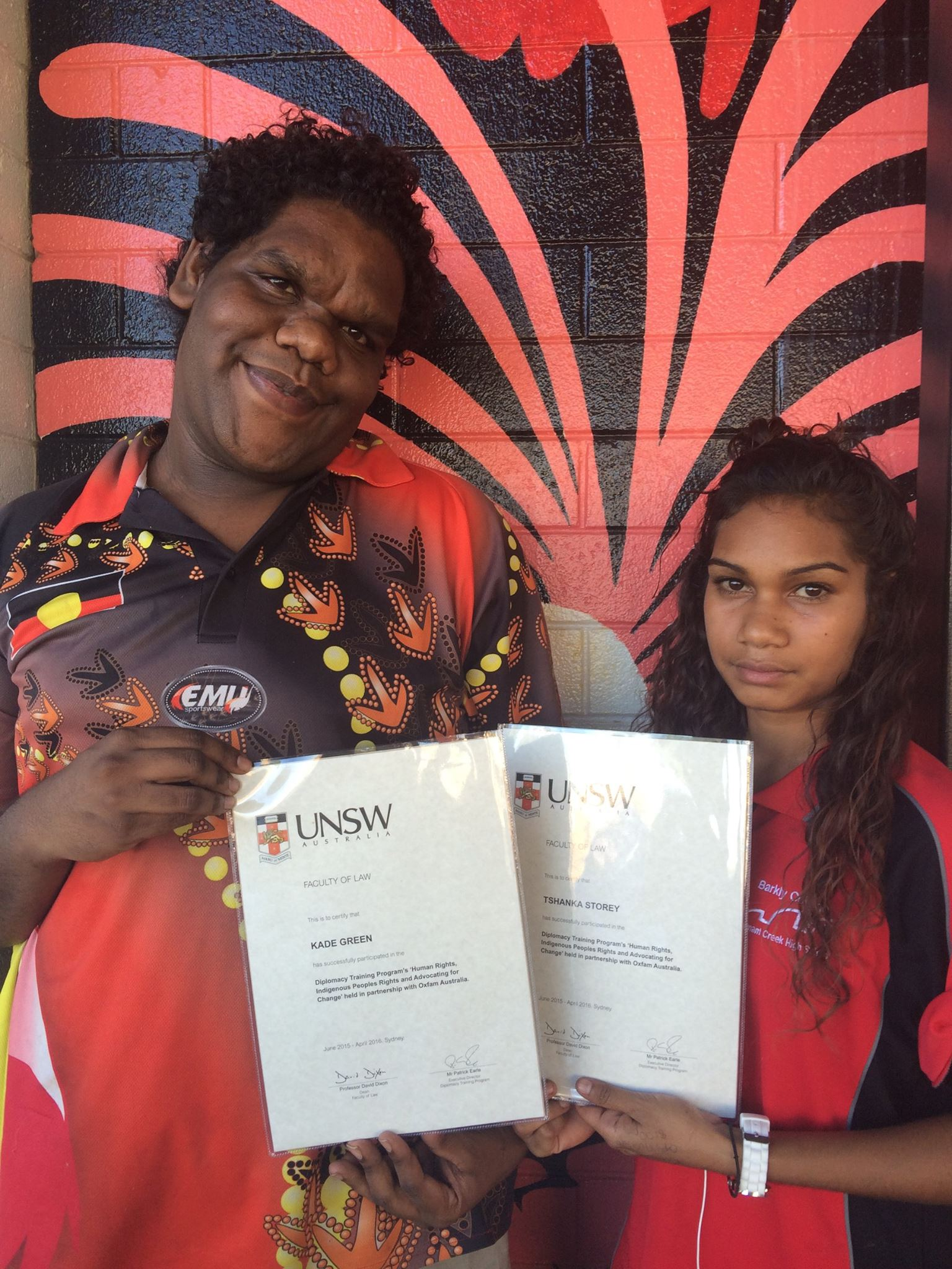 Tshanka Storey and Kaade Green were successful in participating at the Indigenous Human Rights Training organised by UNSW<br>