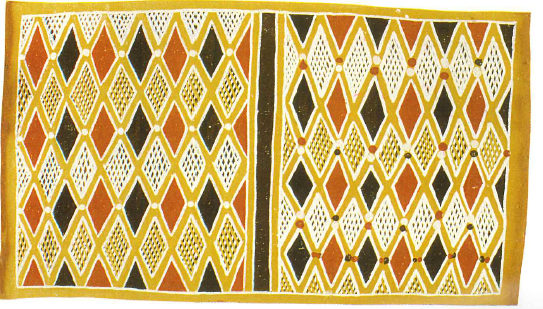 Garma Metaphor painted by Yalmay Yunupingu under the guidance of Dr Yunupingu in 1969<br>